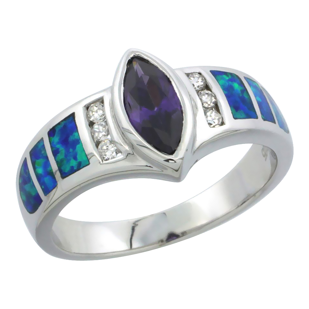 Sterling Silver Blue Synthetic Opal Marquise Ring for Women Amethyst CZ Center 1/4 inch