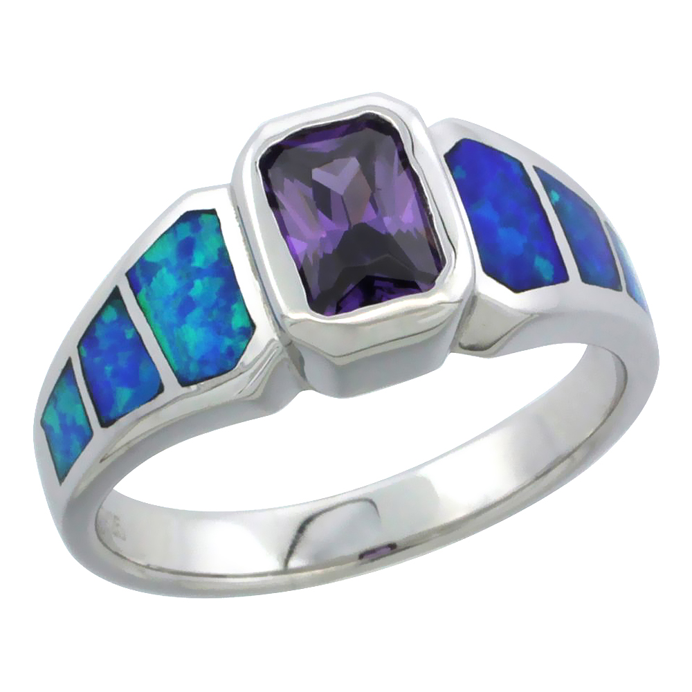 Sterling Silver Blue Synthetic Opal Emerald Cut Ring for Women Amethyst CZ Center 5/16 inch