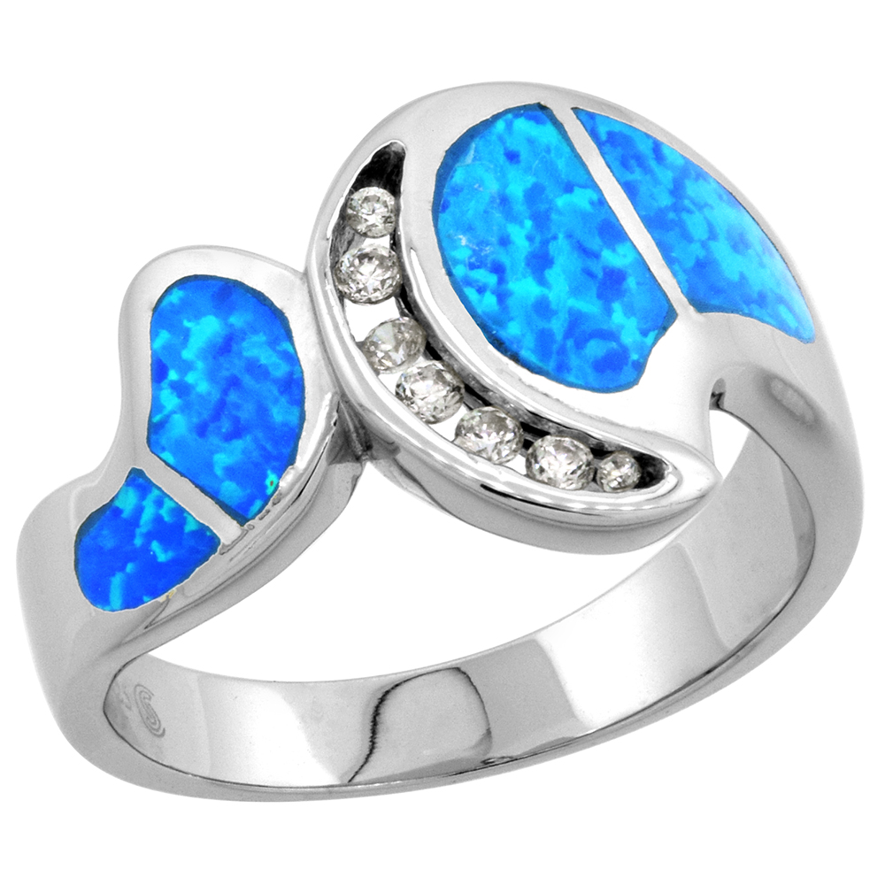 Sterling Silver Blue Synthetic Opal Wide Bypass Ring for Women CZ Accent 1/2 inch