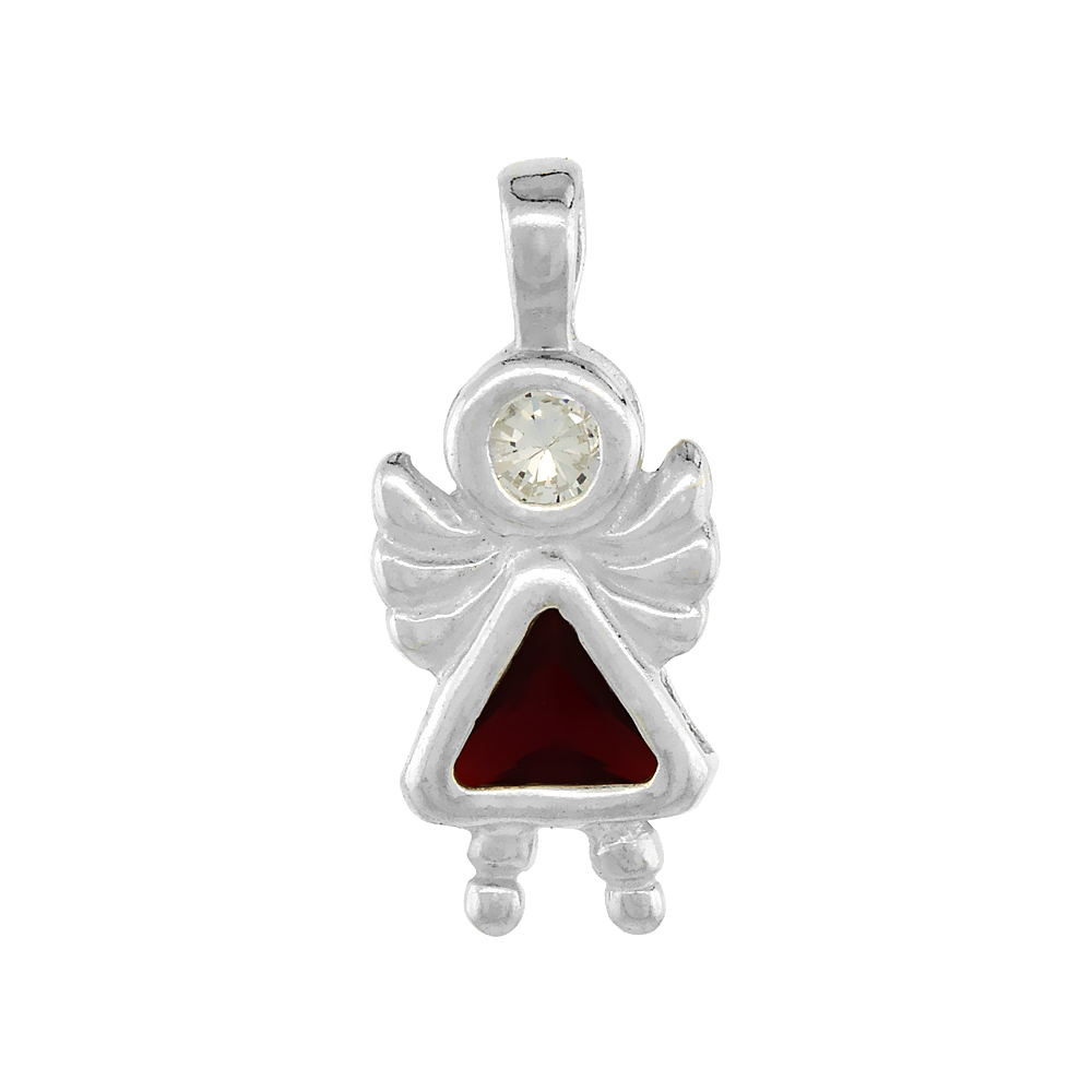Sterling Silver Garnet Cubic Zirconia January Birthstone Baby Angel Pendant NO Chain