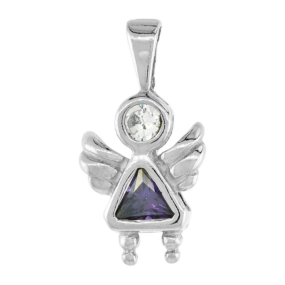 Sterling Silver Amethyst Cubic Zirconia February Birthstone Baby Angel Pendant NO Chain
