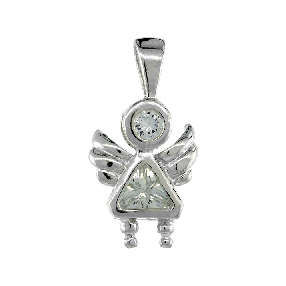 Sterling Silver Clear Cubic Zirconia April Birthstone Baby Angel Pendant NO Chain
