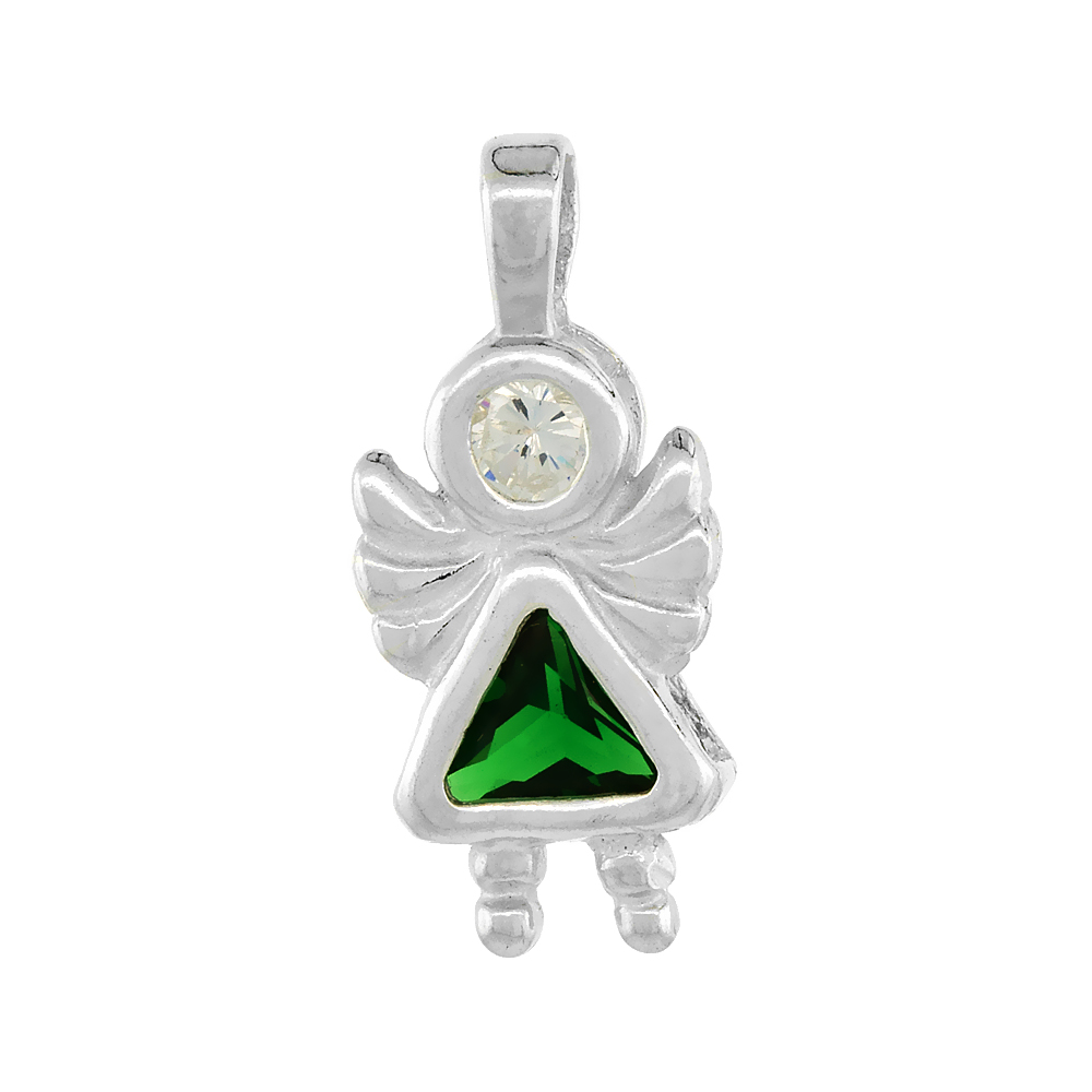 Sterling Silver Emerald Cubic Zirconia May Birthstone Baby Angel Pendant NO Chain