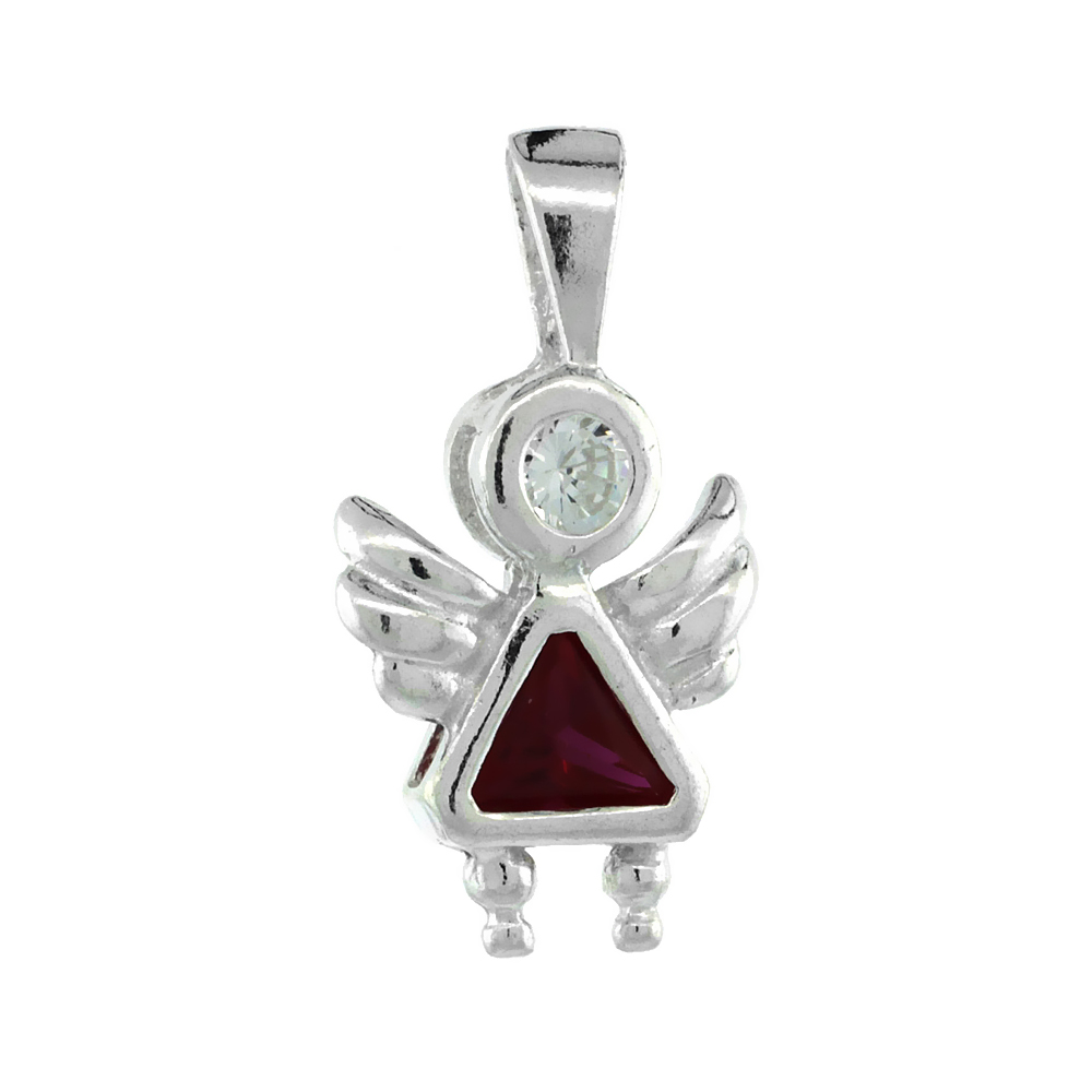 Sterling Silver Ruby Cubic Zirconia July Birthstone Baby Angel Pendant NO Chain