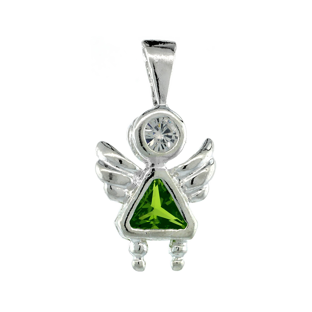 Sterling Silver Peridot Cubic Zirconia August Birthstone Baby Angel Pendant NO Chain