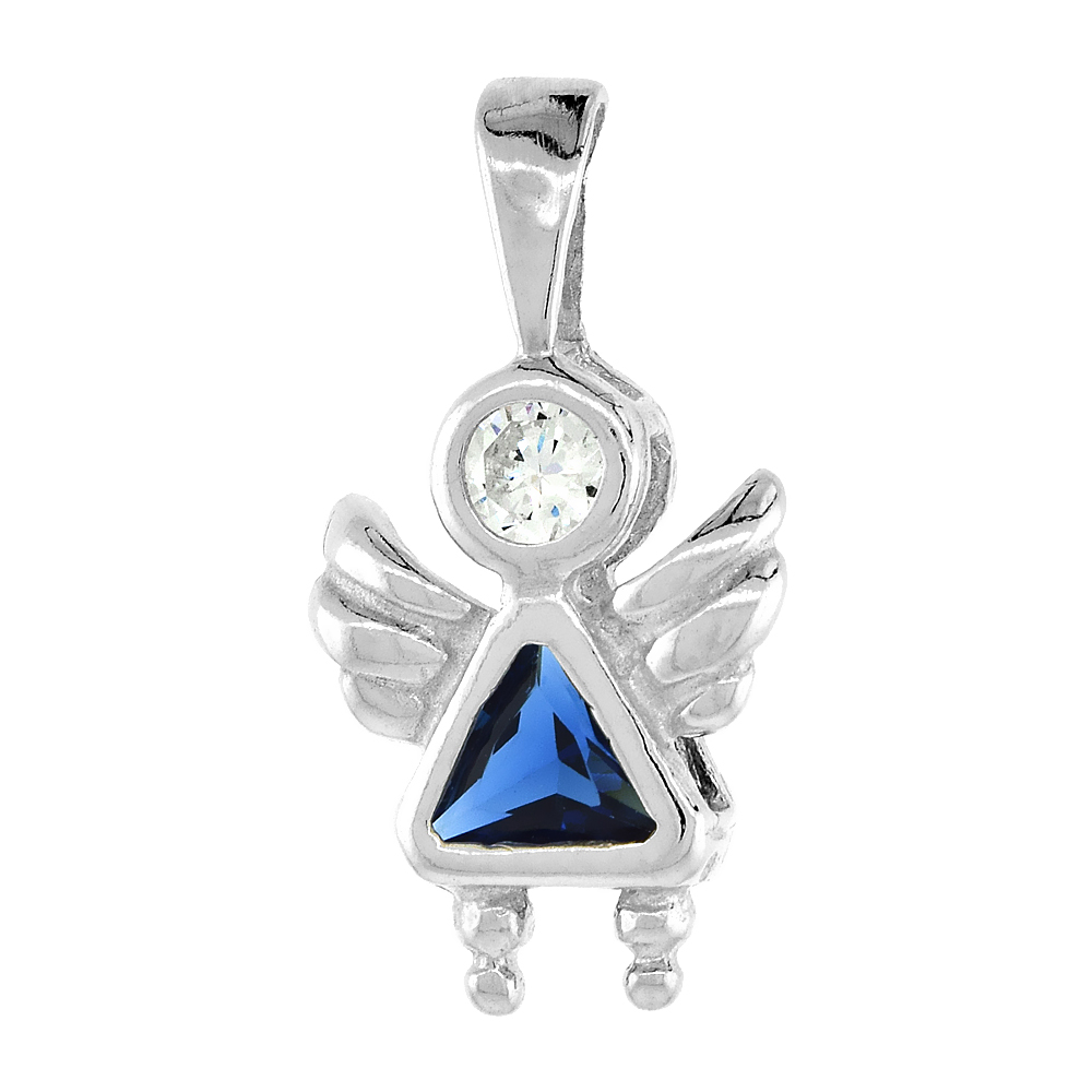 Sterling Silver Blue Sapphire Cubic Zirconia September Birthstone Baby Angel Pendant NO Chain