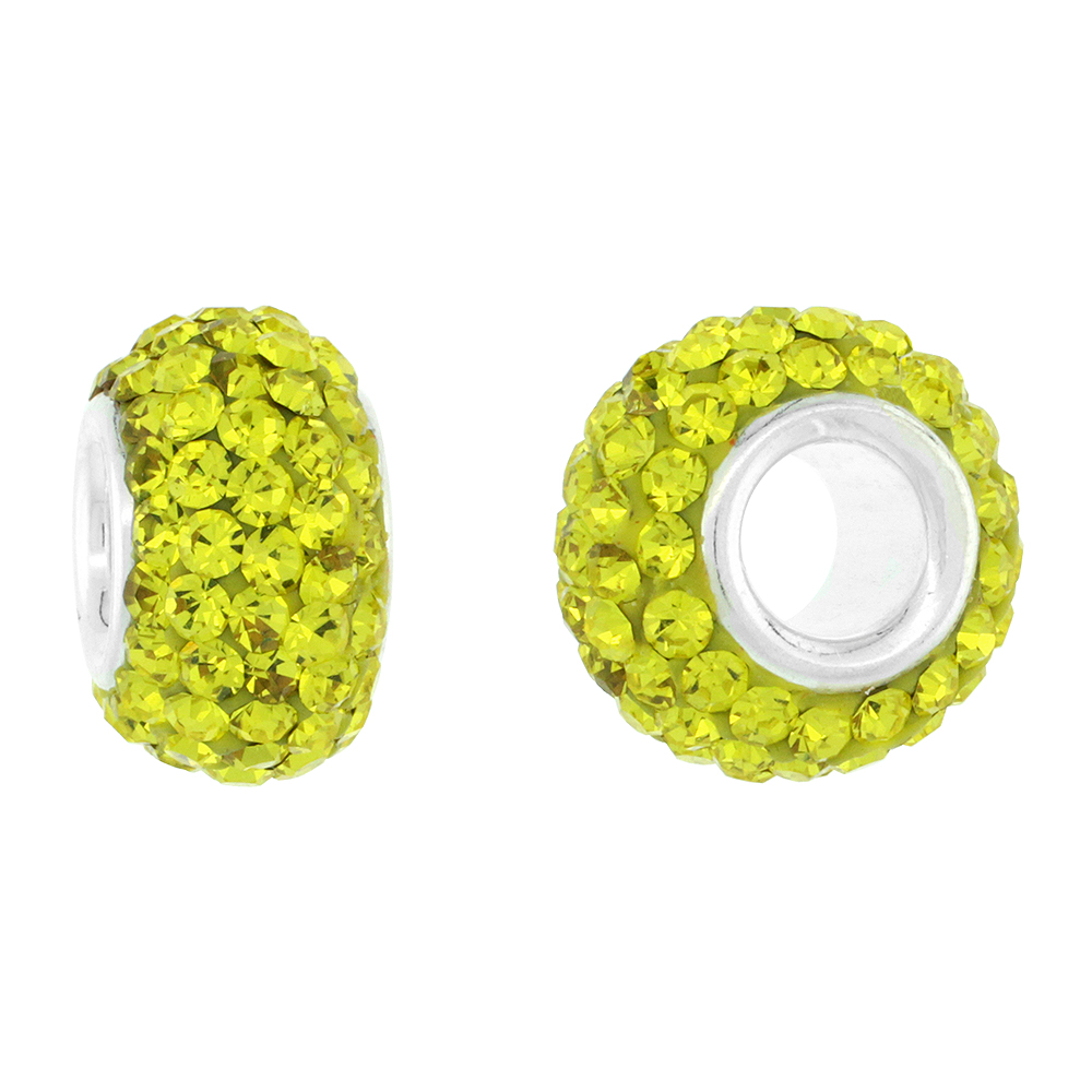 Sterling Silver Crystal Charm Bead Lime Color Charm Bracelet Compatible, 13 mm