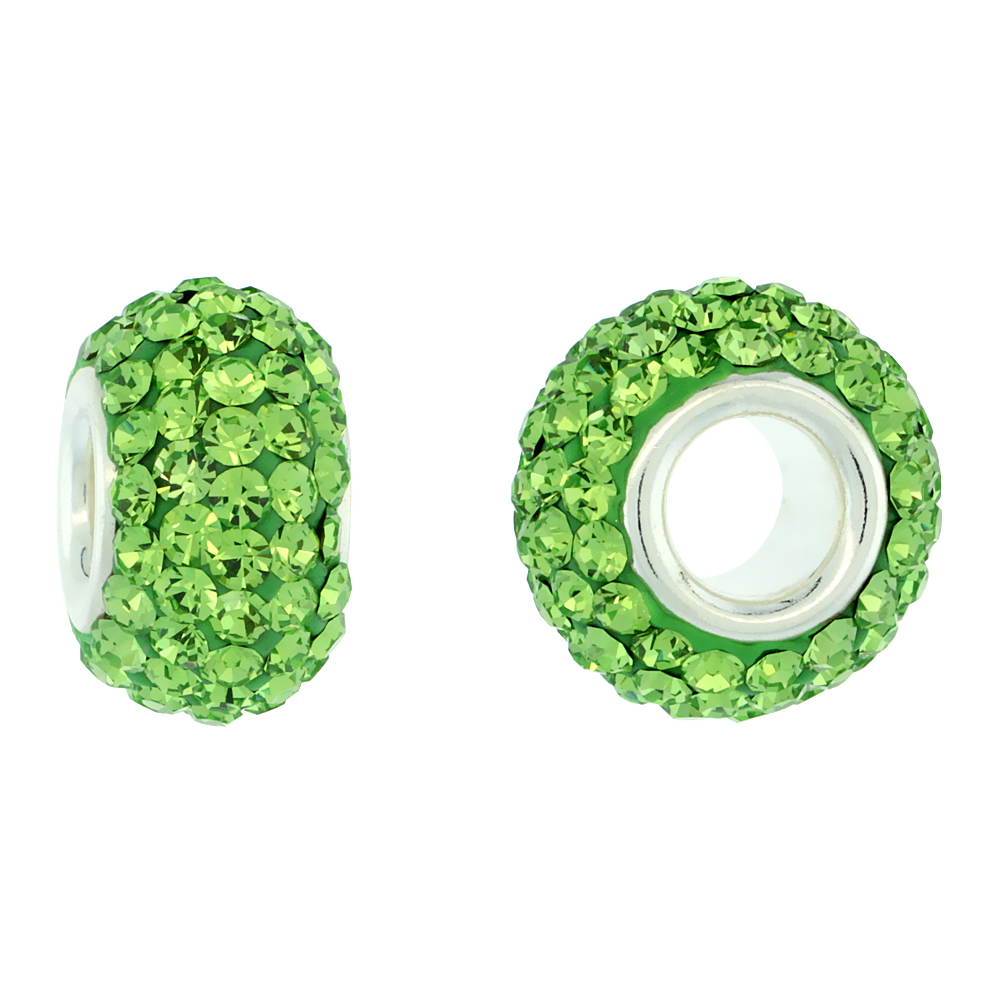Sterling Silver Crystal Charm Bead Peridot Color Charm Bracelet Compatible, 13 mm