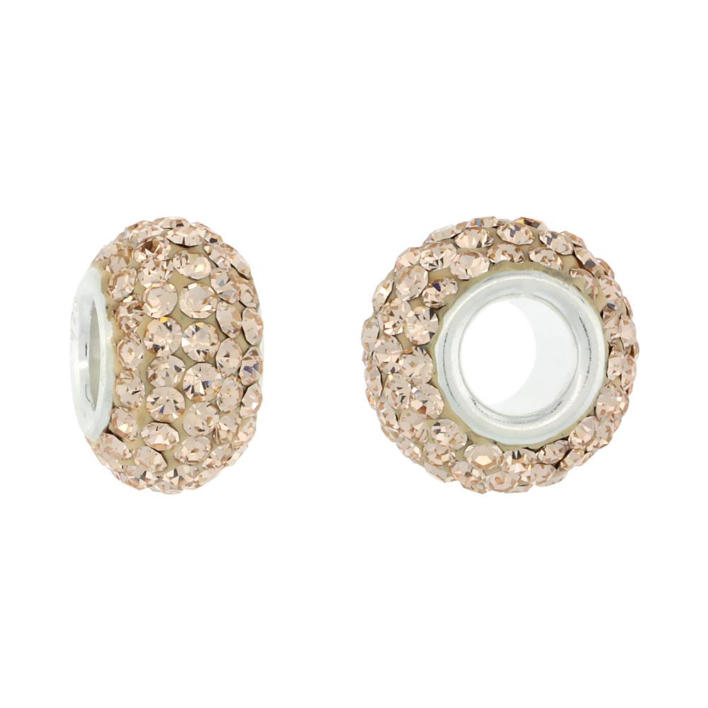 Sterling Silver Crystal Charm Bead Light Rose Champagne Color Charm Bracelet Compatible, 13 mm