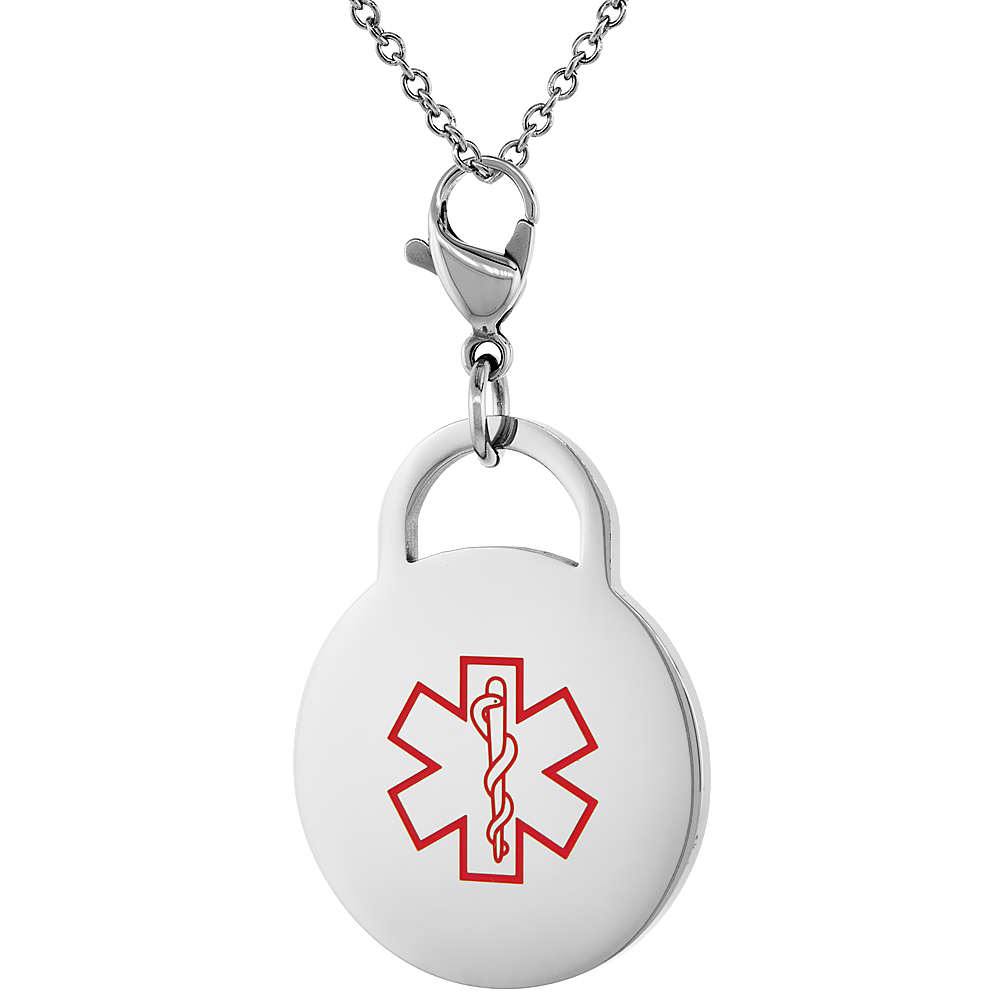Surgical Steel Medical Alert Type 2 Diabetic Charm / Pendant Bracelet 1 Inch Round