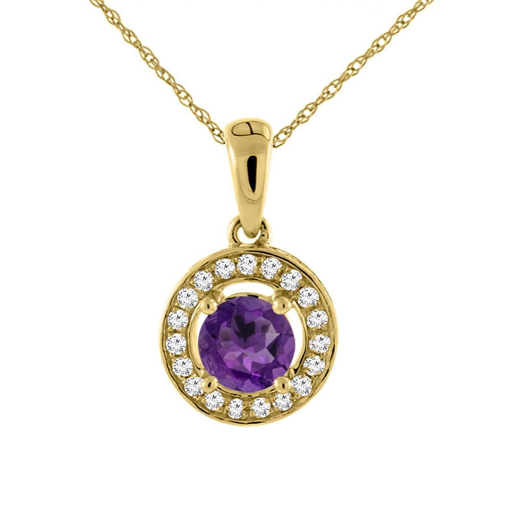 14K Yellow Gold Natural Amethyst Necklace with Diamond Halo Round 5 mm