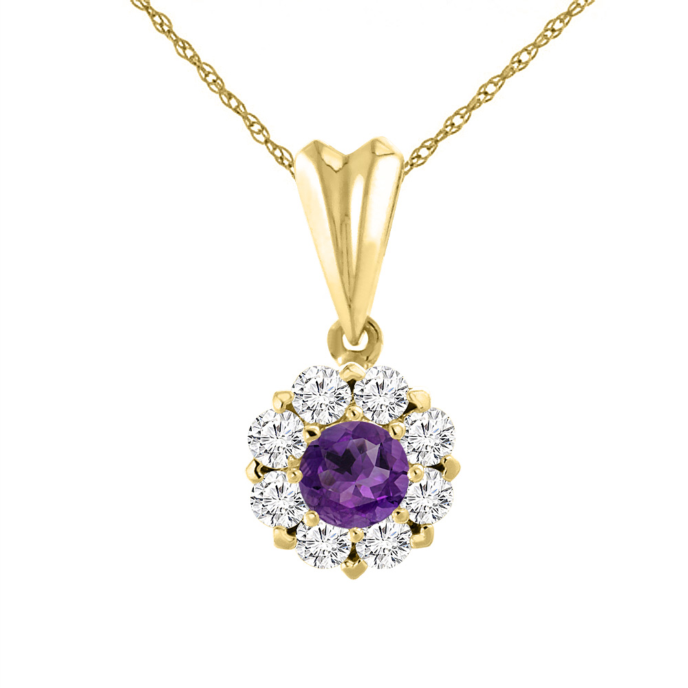 14K Yellow Gold Natural Amethyst Necklace with Diamond Halo Round 4 mm