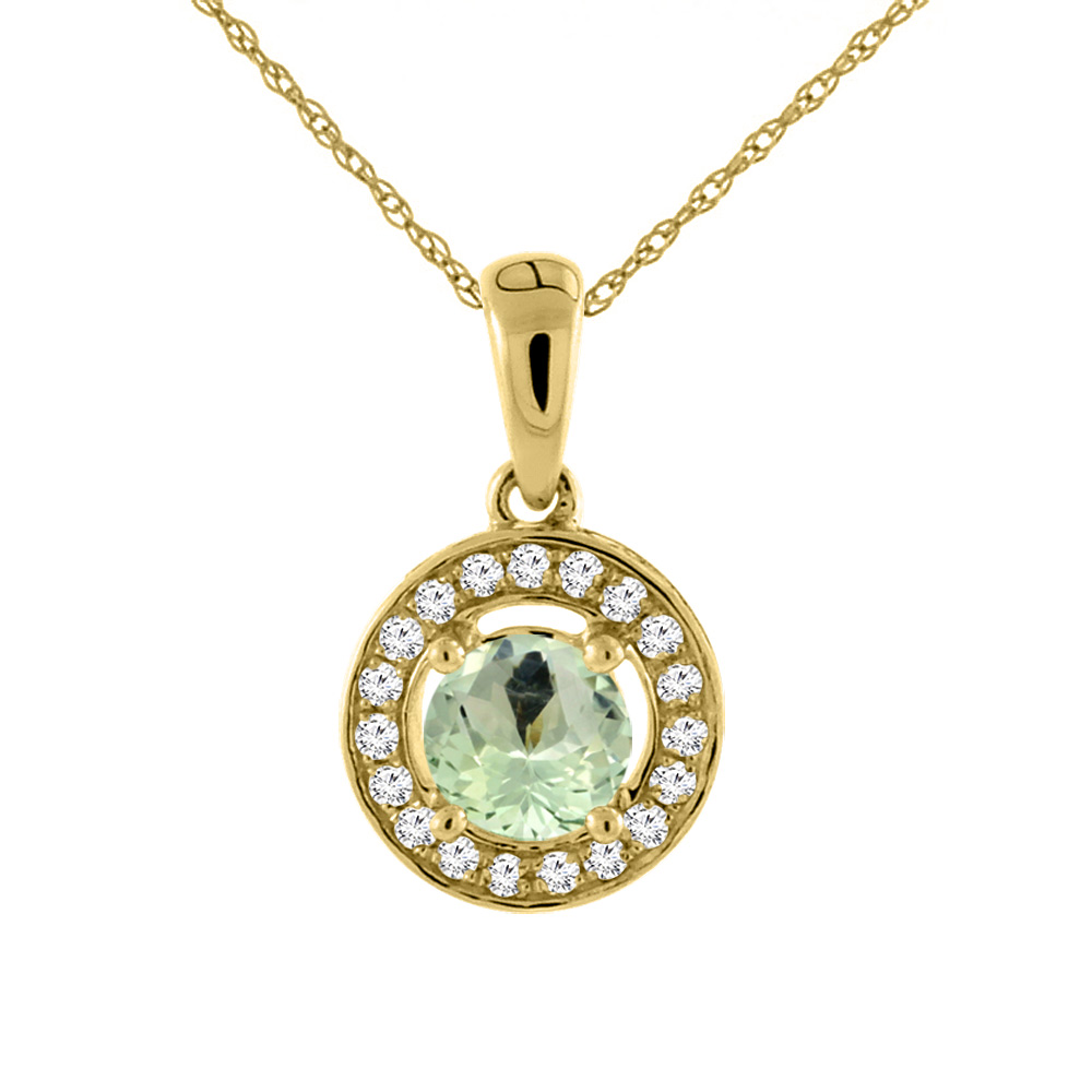14K Yellow Gold Natural Green Amethyst Necklace with Diamond Halo Round 5 mm