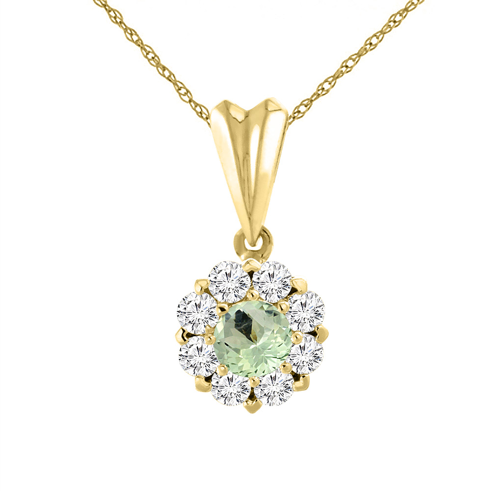 14K Yellow Gold Natural Green Amethyst Necklace with Diamond Halo Round 6 mm