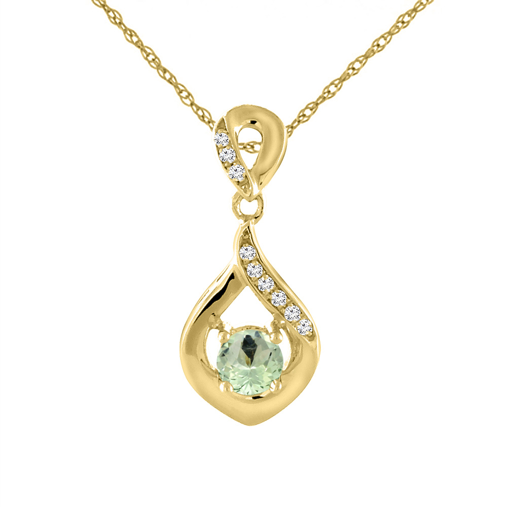 14K Yellow Gold Natural Green Amethyst Necklace with Diamond Accents Round 4 mm