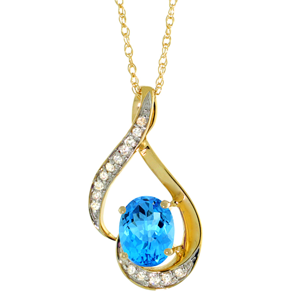 14K Yellow Gold Diamond Natural Swiss Blue Topaz Necklace Oval 7x5 mm, 18 inch long