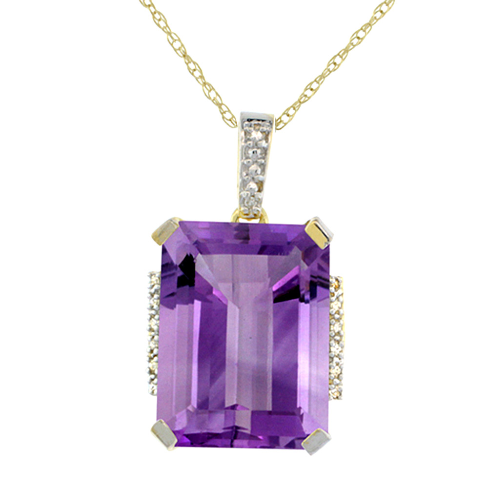 10K Yellow Gold Natural Amethyst Pendant Octagon 16x12 mm & Diamond Accents
