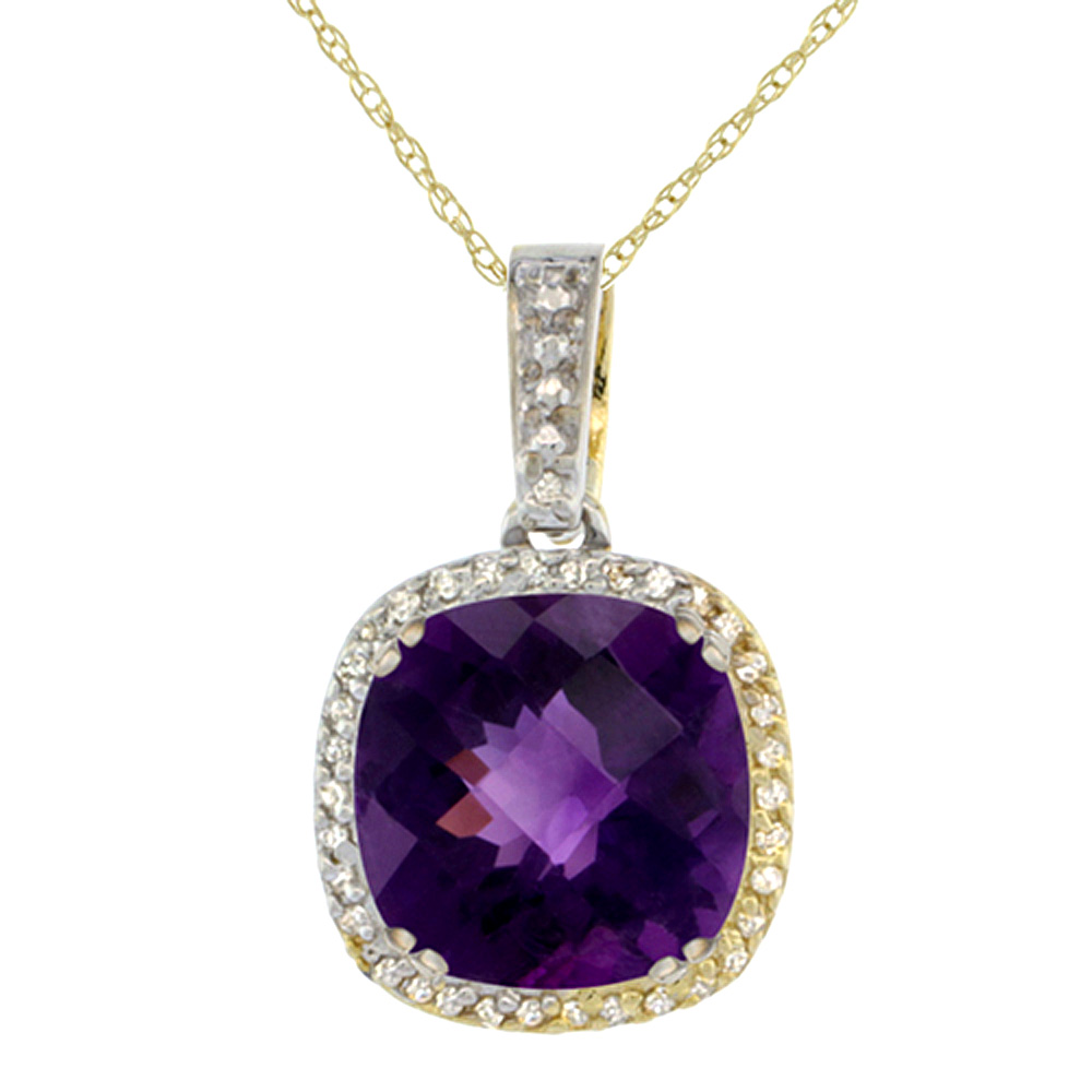 10k Yellow Gold Diamond Halo Natural Amethyst Necklace Cushion Shaped 10x10mm, 18 inch long