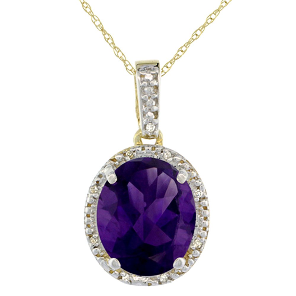 10K Yellow Gold Diamond Halo Natural Amethyst Necklace Oval 12x10 mm, 18 inch long
