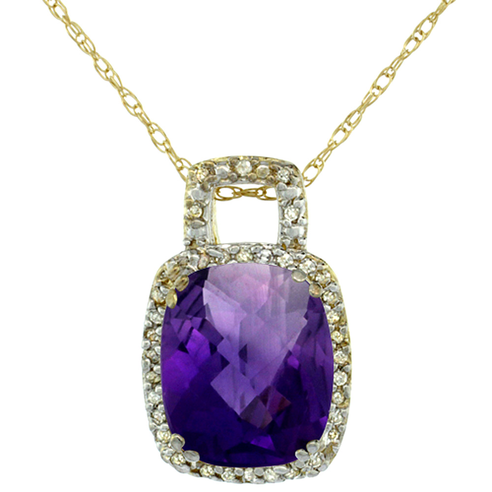 10K Yellow Gold Natural Amethyst Pendant Octagon Cushion 10x8 mm & Diamond Accents