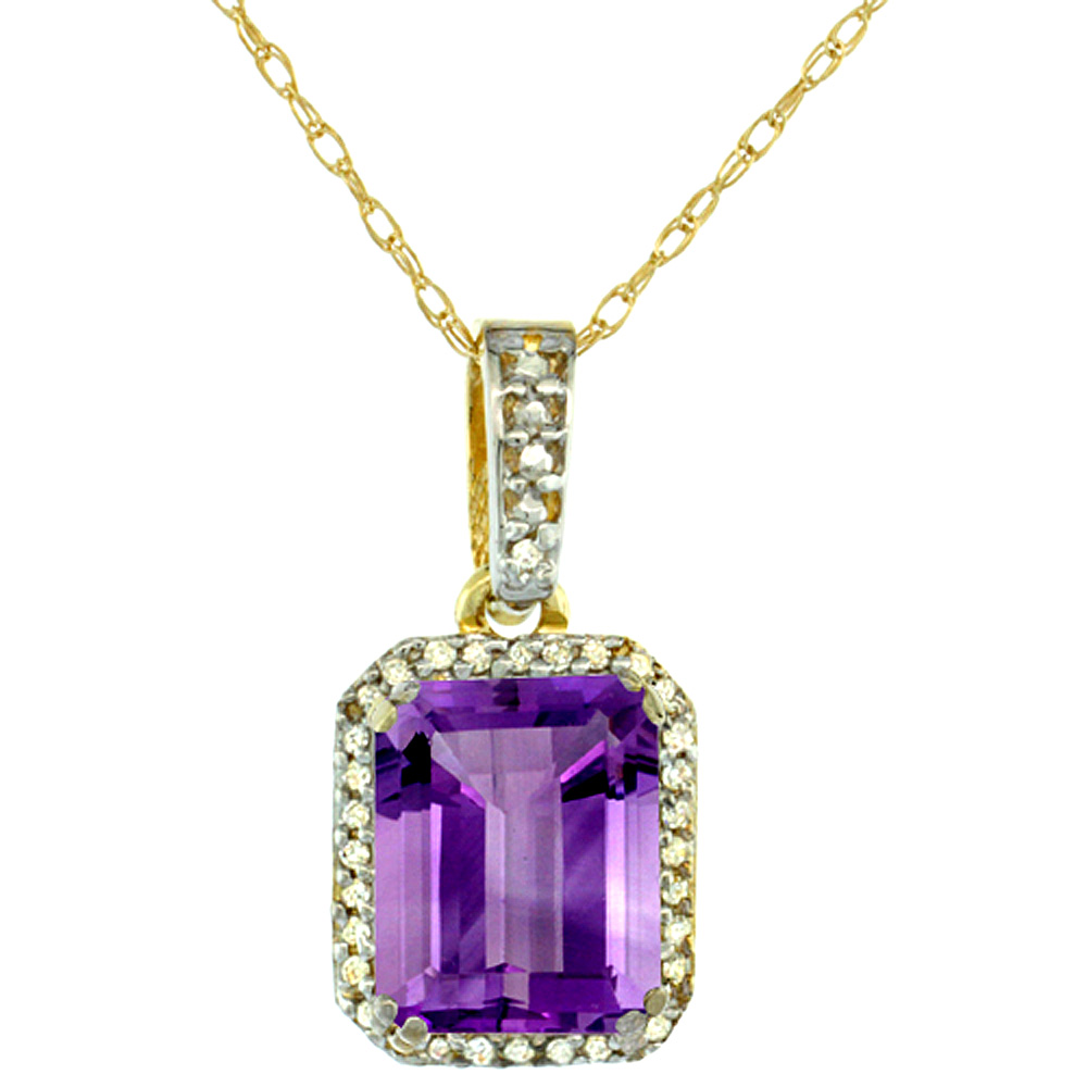 10K Yellow Gold Diamond Natural Amethyst Pendant Octagon 9x7 mm
