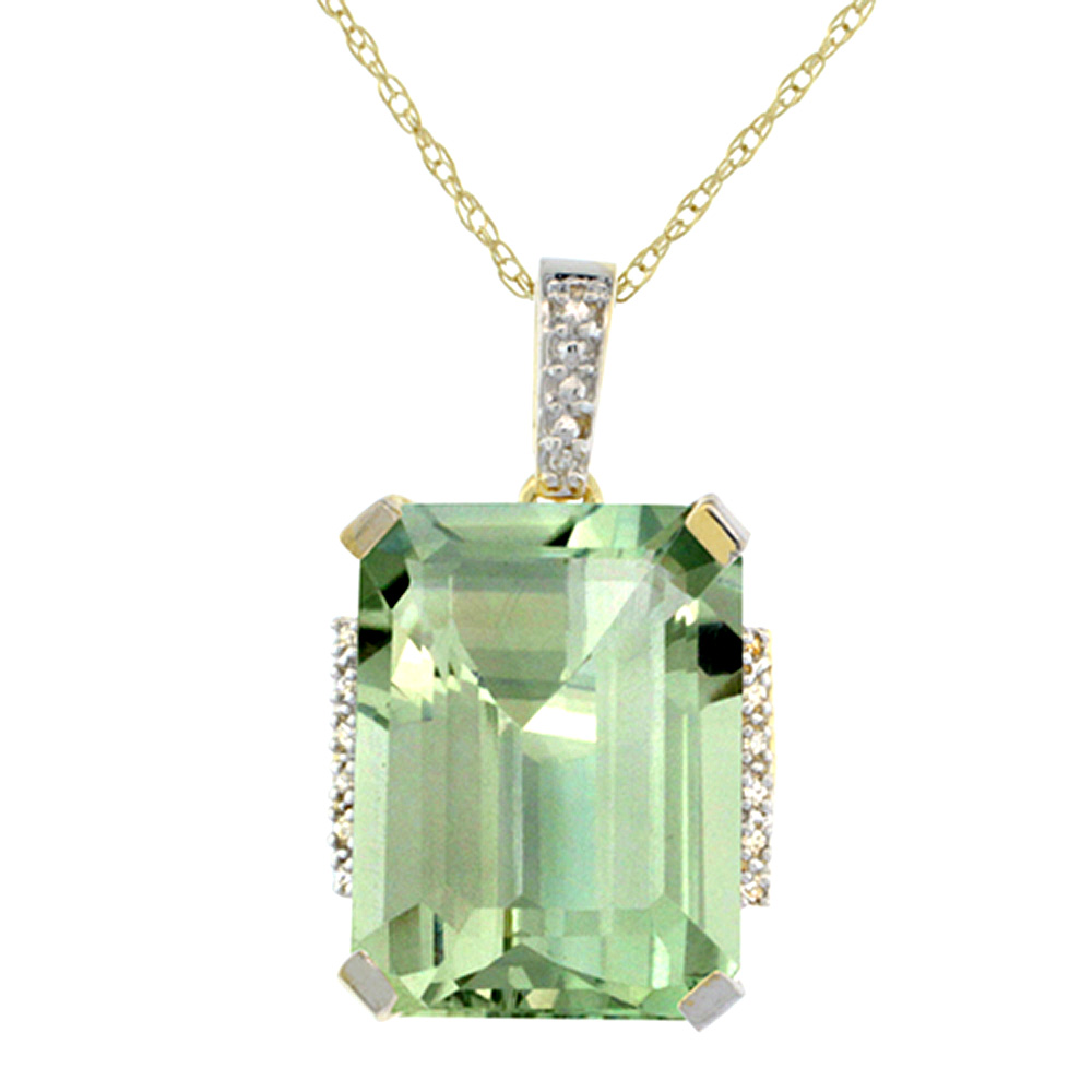 10K Yellow Gold Natural Green Amethyst Pendant Octagon 16x12 mm & Diamond Accents