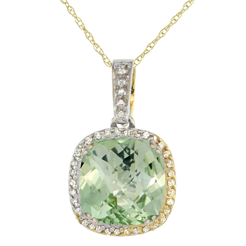 10k Yellow Gold Diamond Halo Natural Green Amethyst Necklace Cushion Shaped 10x10mm, 18 inch long