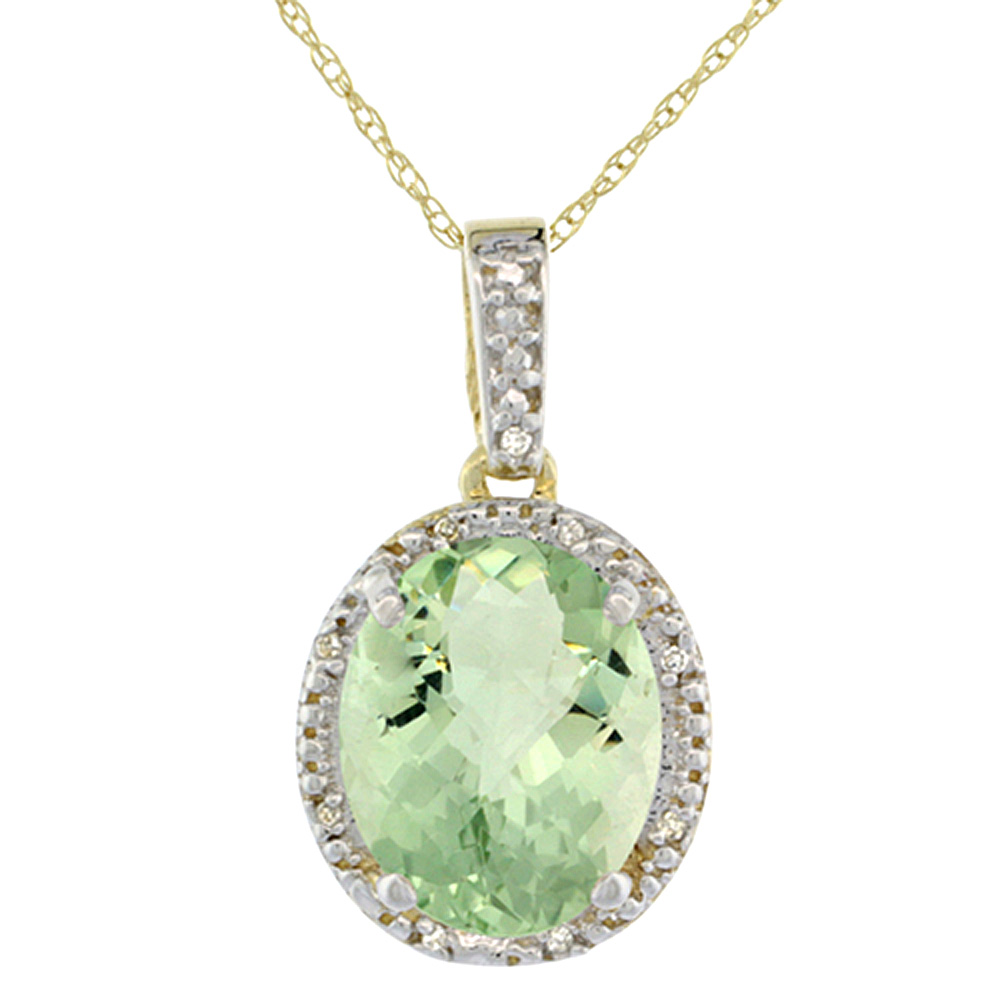 10K Yellow Gold Diamond Halo Natural Green Amethyst Necklace Oval 12x10 mm, 18 inch long