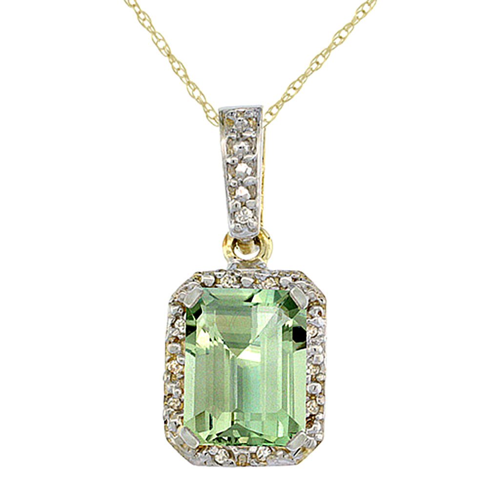 10K Yellow Gold Natural Green Amethyst Pendant Octagon 8x6 mm & Diamond Accents