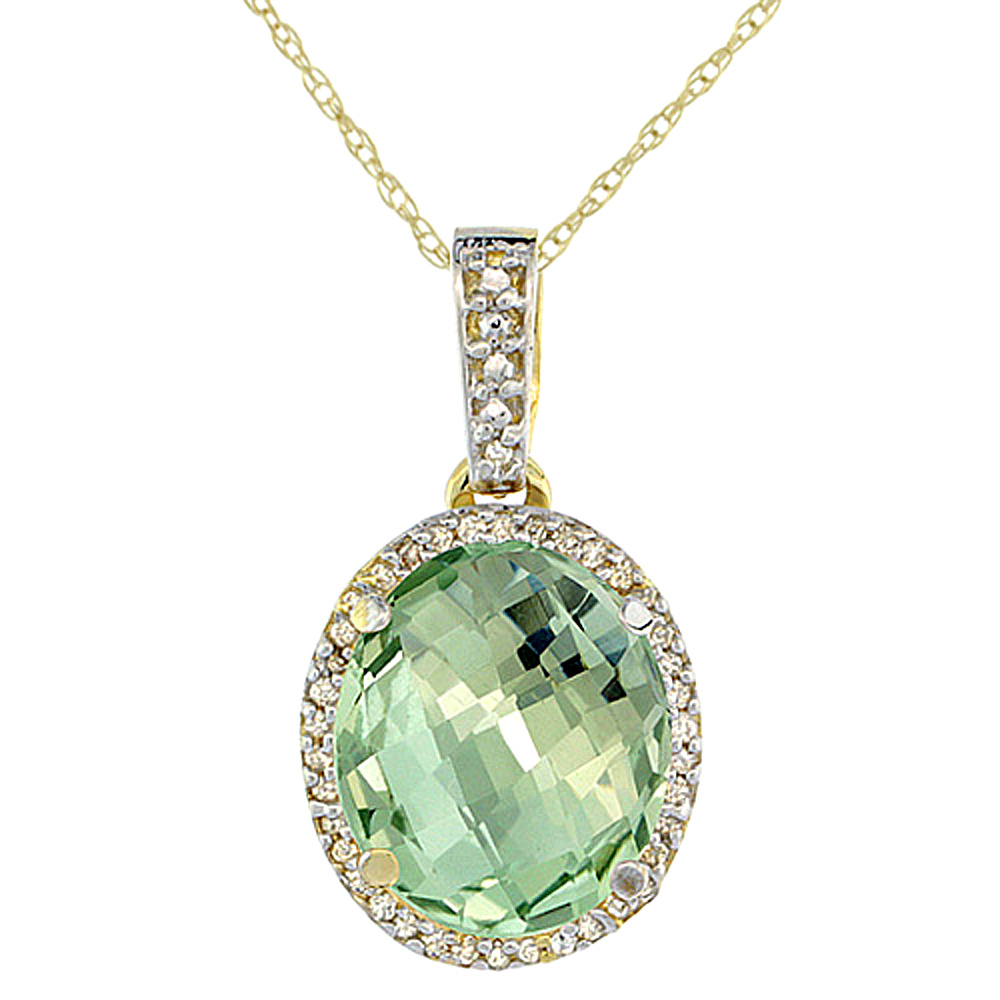 10K Yellow Gold Natural Green Amethyst Pendant Oval 11x9 mm