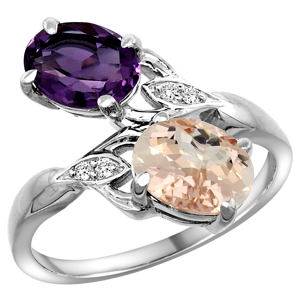 10K White Gold Diamond Natural Amethyst & Morganite 2-stone Ring Oval 8x6mm, sizes 5 - 10
