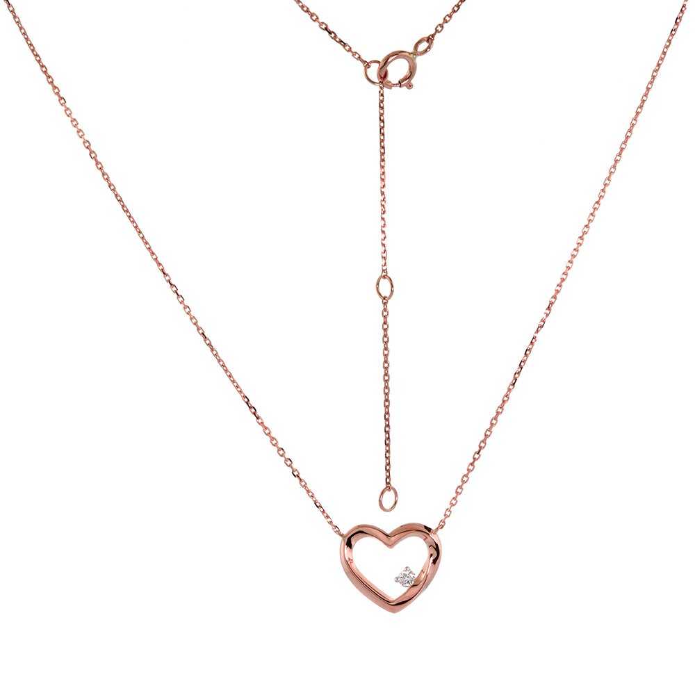 Dainty 14k Rose Gold Diamond Open Heart Necklace 16-18 inch 0.04 cttw