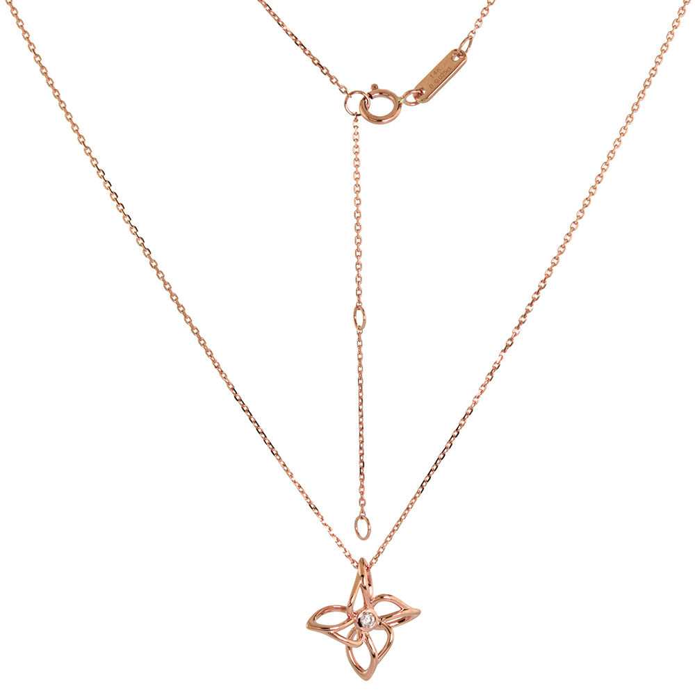 Tiny 14k Rose Gold Diamond Flower Necklace 16-18 inch 0.03 cttw