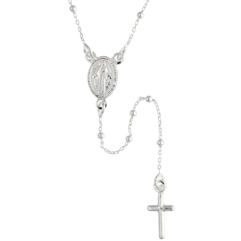 Sterling Silver Baby Rosary Necklace Dainty 1.8 mm Beads Handmade for women Italy 18 inch