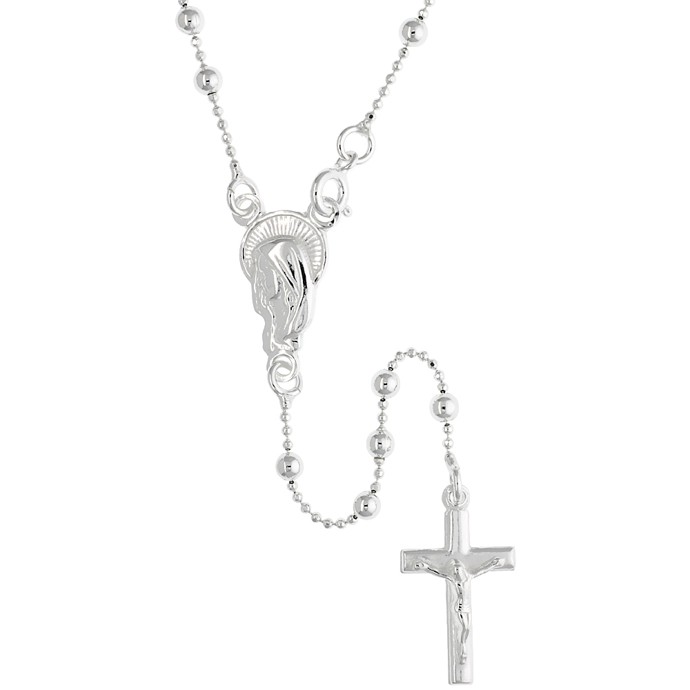 Sterling Silver Rosary Necklace 3mm Beads on Bead Chain made in Italy