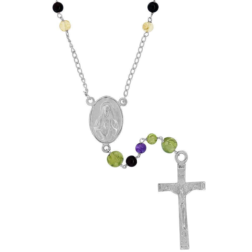 Sterling Silver 4mm Genuine Tourmaline Rosary Necklace Mother Mary & Sacred Heart of Jesus Center 25 inch