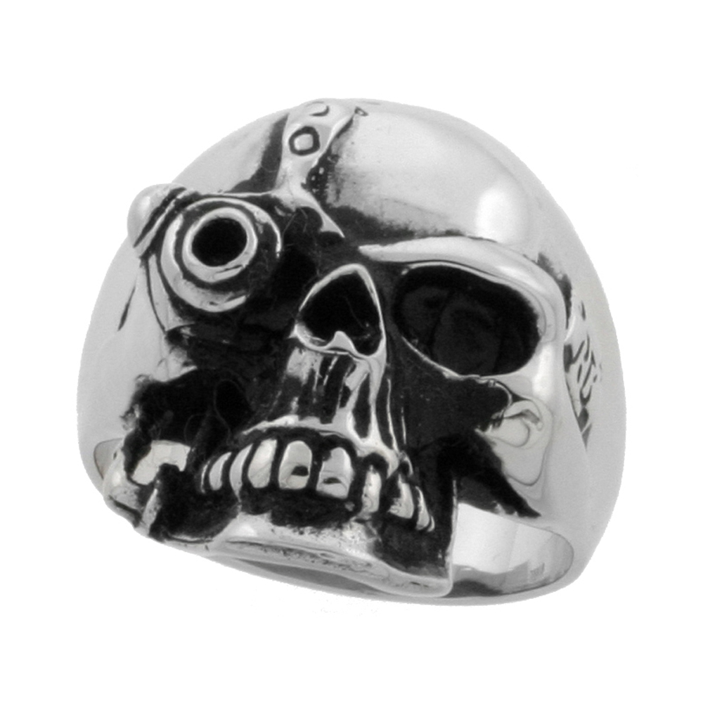 Stainless Steel Cyborg Skull Ring Biker Rings for men 9/16 inch, sizes 9 - 15