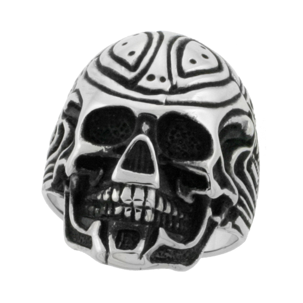 Stainless Steel Cyborg Skull Ring Biker Rings for men 1 1/8 inch, sizes 9 - 15