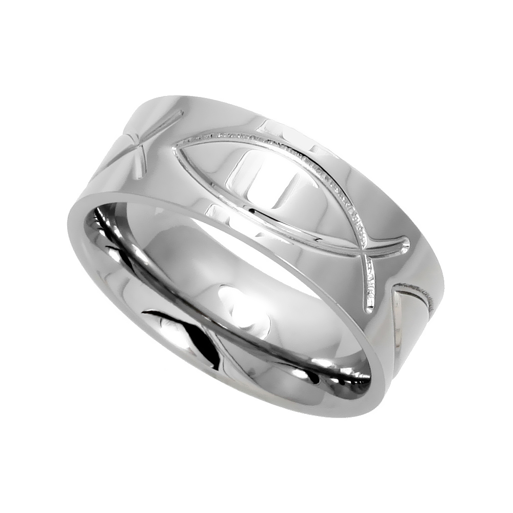 8mm Surgical Stainless Steel Christian Fish Wedding Band Ichthys Ring Comfort-Fit, sizes 6 - 14