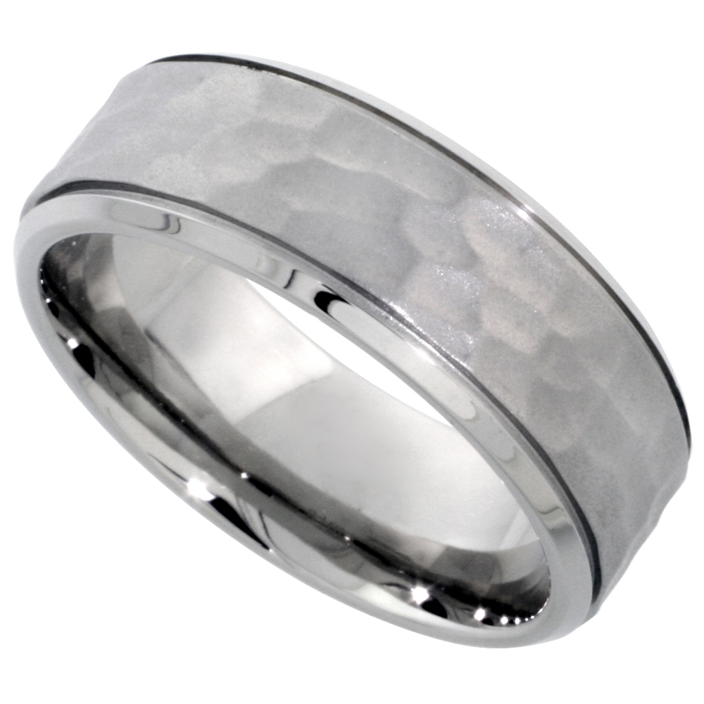 Surgical Stainless Steel 8mm Hammered Wedding Band Ring Grooved Beveled Edges Comfort-Fit, sizes 8 - 14