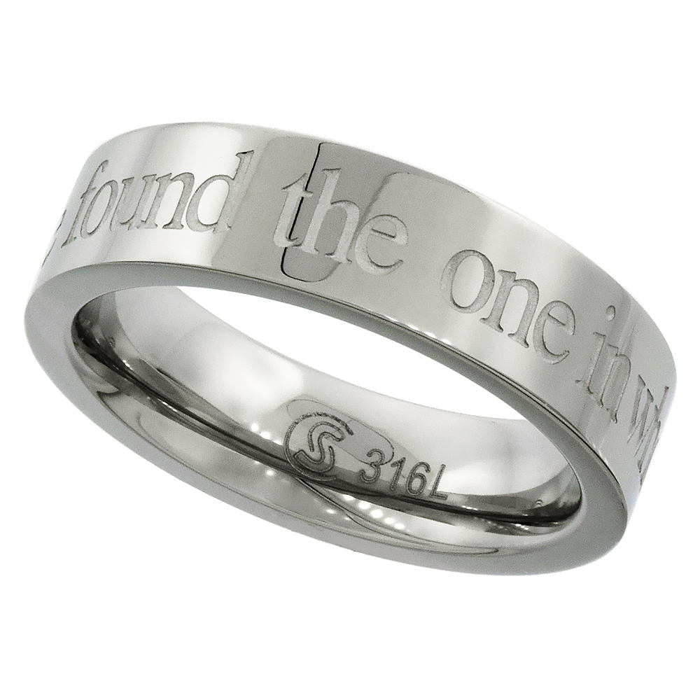 Surgical Stainless Steel 5mm I HAVE FOUND THE ONE IN WHOM MY SOUL DELIGHTS Wedding Ring, sizes 5 - 9