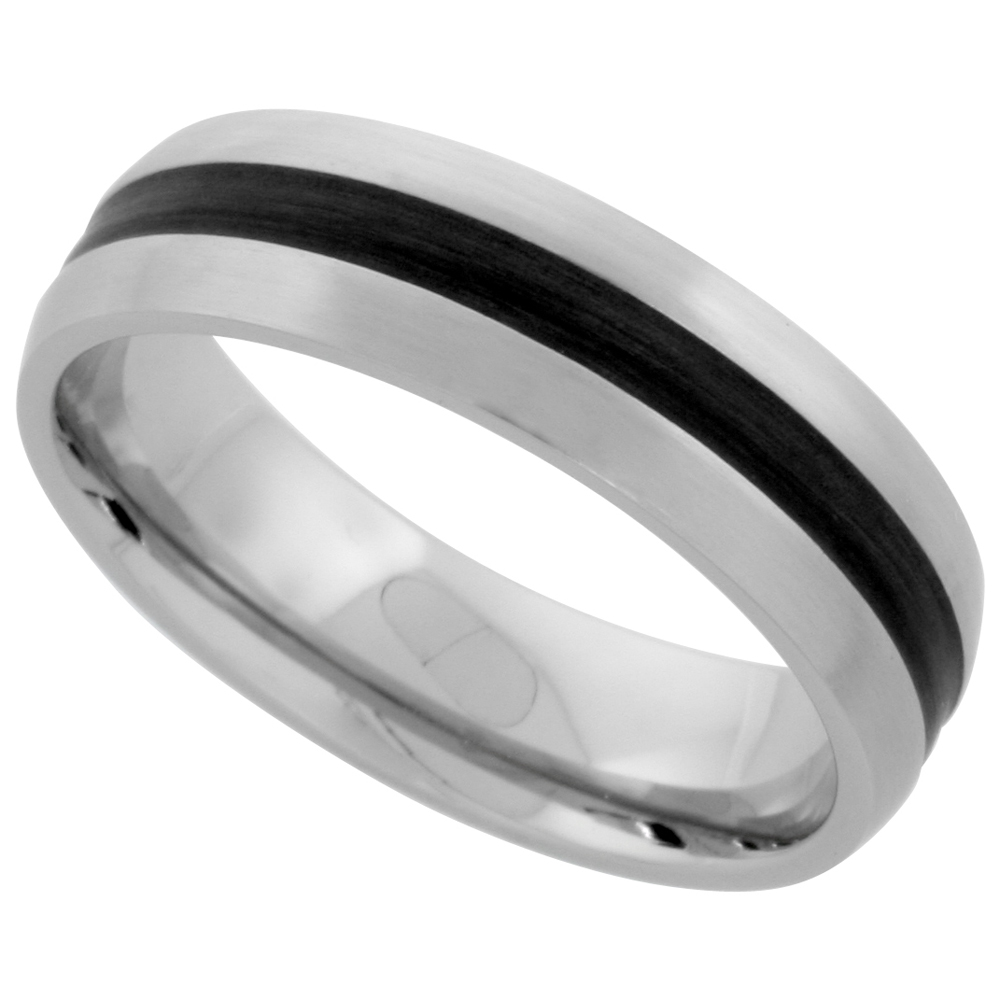Stainless Steel Domed 6mm Wedding Band Ring Black Stripe Inlay Center Matte Finish Comfort-fit, sizes 5-9