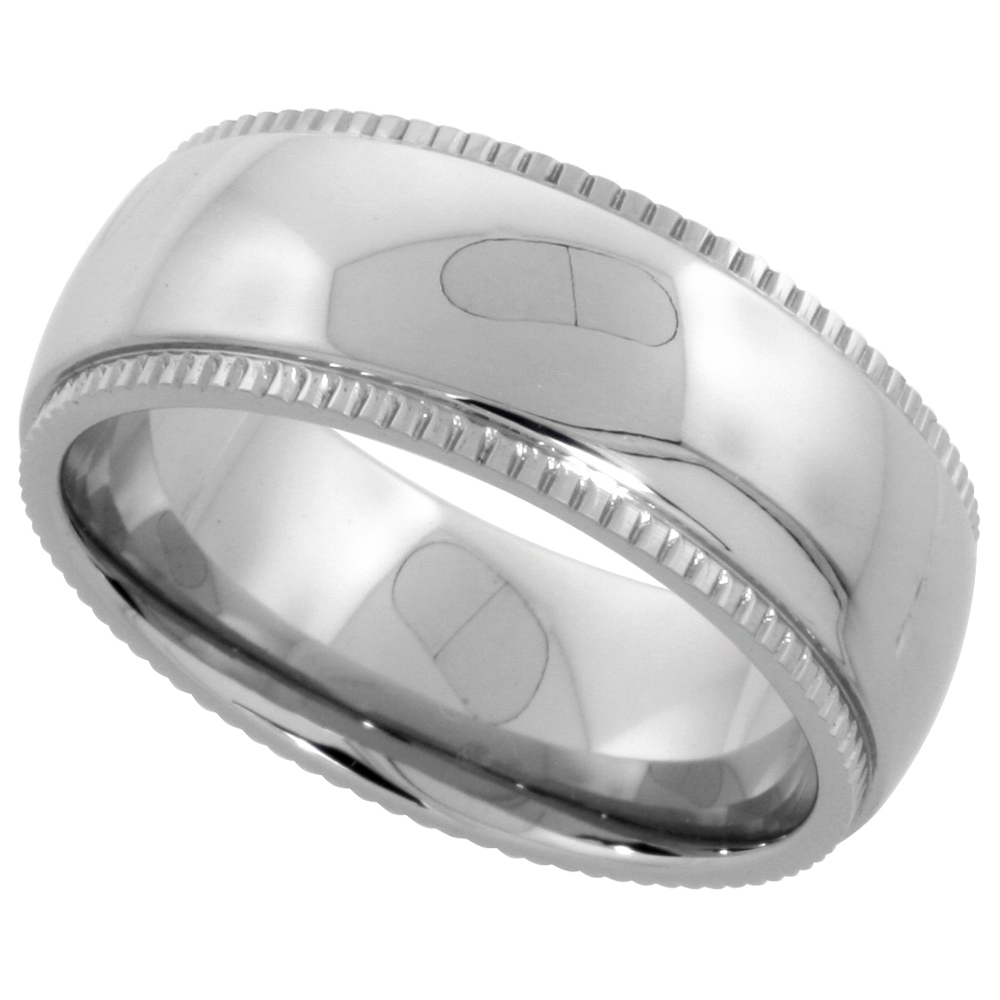 Surgical Stainless Steel Milgrain Wedding Band / Thumb Ring 8mm Domed Polished Comfort-fit, sizes 7 - 14