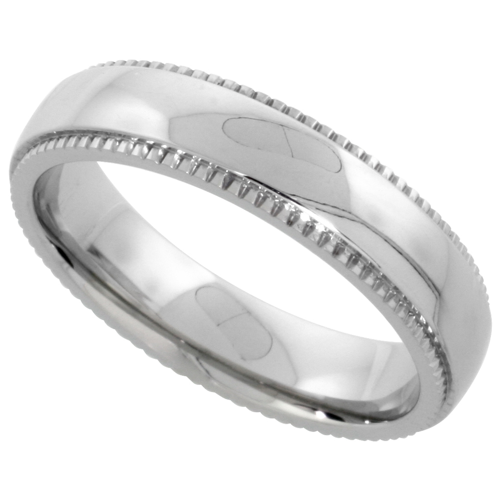 Surgical Stainless Steel Milgrain Wedding Band / Thumb Ring 5mm Domed Polished Comfort-fit, sizes 5 - 9