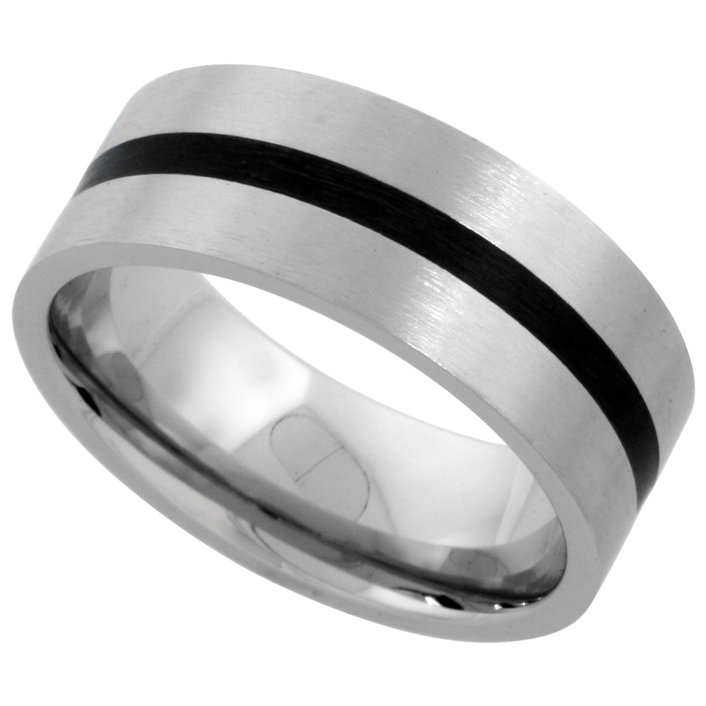 Stainless Steel 8mm Wedding Band Ring Black Stripe Inlay Center Matte Finish Comfort-fit, sizes 7 - 14
