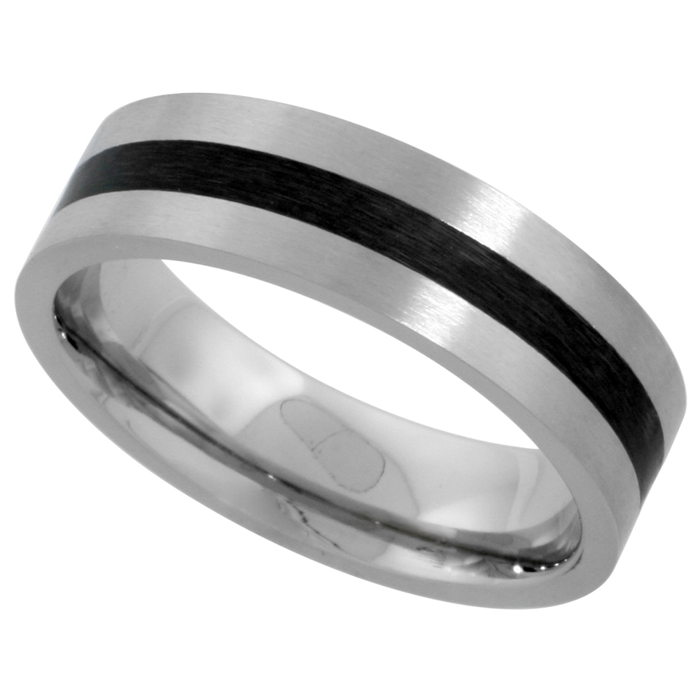 Stainless Steel 6mm Wedding Band Ring Black Stripe Inlay Center Matte Finish Comfort-fit, sizes 5 - 9