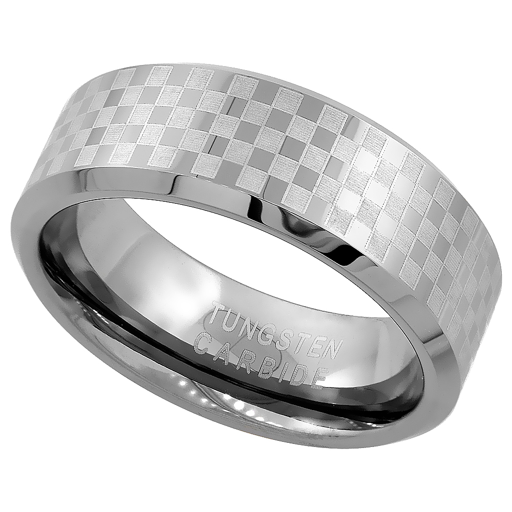 Tungsten Carbide 8 mm Flat Wedding Band Ring Etched Checker Board Pattern, sizes 7 to 14