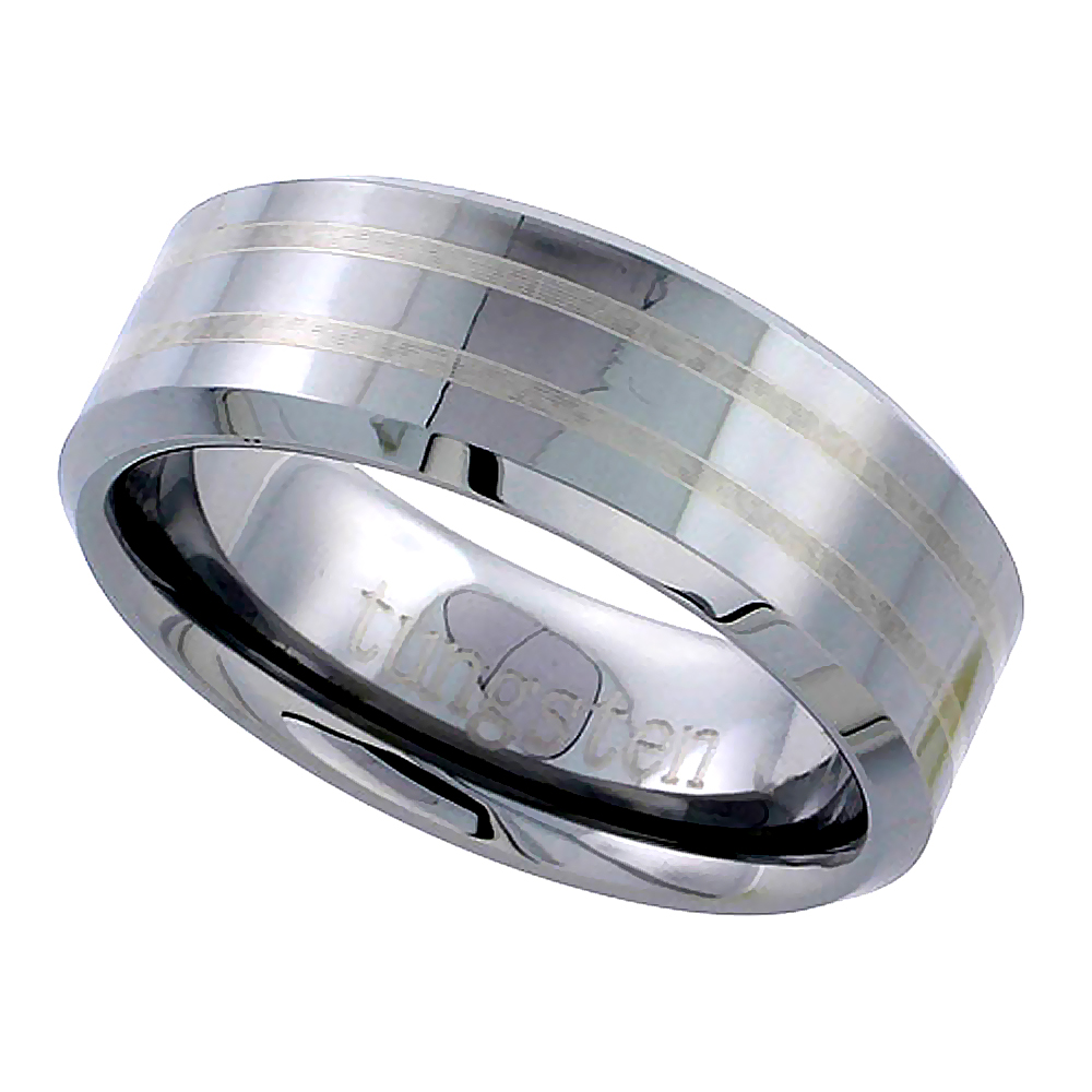 Tungsten Carbide 8 mm Flat Wedding Band Ring 2 Etched Stripes Beveled Edges, sizes 5 to 14