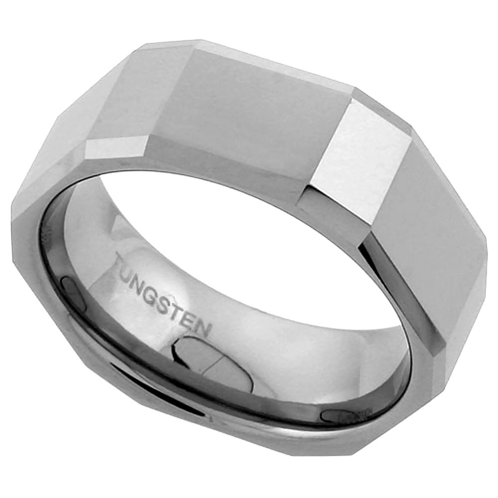 Tungsten Carbide 8 mm Flat Faceted Wedding Band Ring Rectangle Patterns, sizes 7 to 14
