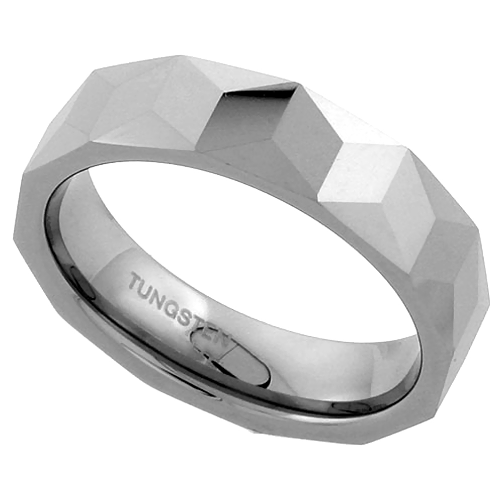 Tungsten Carbide 6 mm Faceted Flat Band Ring Triangular Prism Patterns, sizes 7 to 13